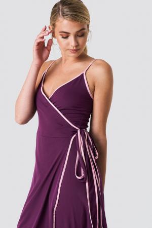 Rochie Binding Detail Wrap Over Dress0
