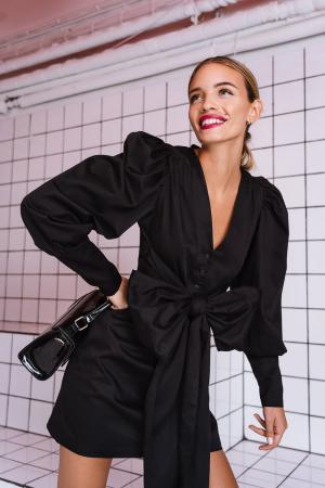 Rochie Bow Detail Long Sleeve Mini0
