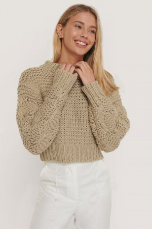 Pulover Bubble Sleeve Knitted Sweater0