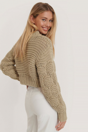 Pulover Bubble Sleeve Knitted Sweater1