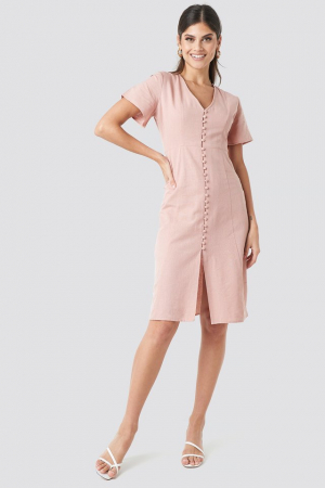 Rochie Button Front Linen-blend0