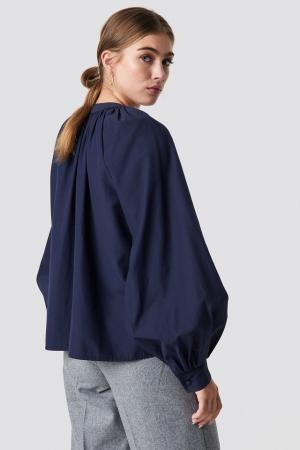Buttoned Neckline Oversize Blouse1