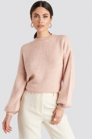 Pulover Crew Neck Volume Sleeve Knitted0