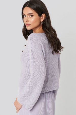 Pulover Cropped Sleeve Knitted1
