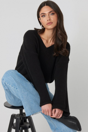 Pulover Cropped V-neck Knitted [0]