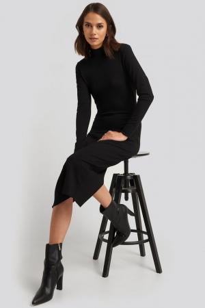 Rochie Cut Out Back Long Sleeve Midi Dress [1]