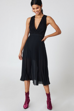 Rochie Deep Neck Pleated0