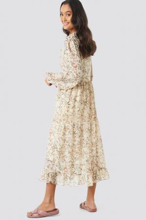 Flower Print Tiered Midi Dress1