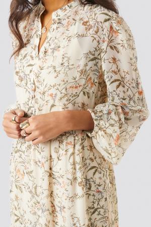 Flower Print Tiered Midi Dress2