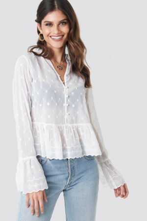 Bluza Flute Sleeve Frill Detail Top0