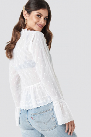 Bluza Flute Sleeve Frill Detail Top1