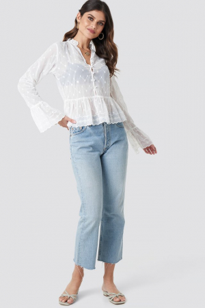 Bluza Flute Sleeve Frill Detail Top2
