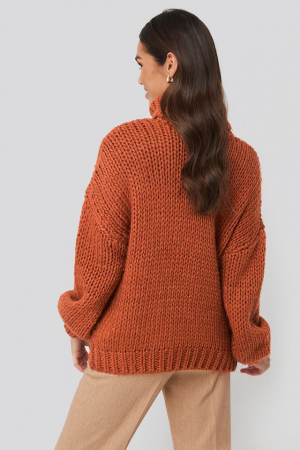 Pulover Wool Blend High Neck Heavy Cable Knitted Sweater [1]
