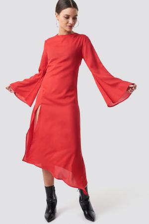 Rochie High Slit Asymmetric Midi Dress [0]