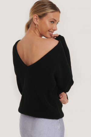 Pulover Knitted Deep V-Neck Sweater Back [0]