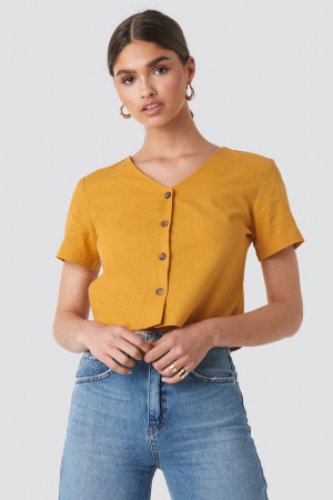 Top din in Linen Look Buttoned [0]