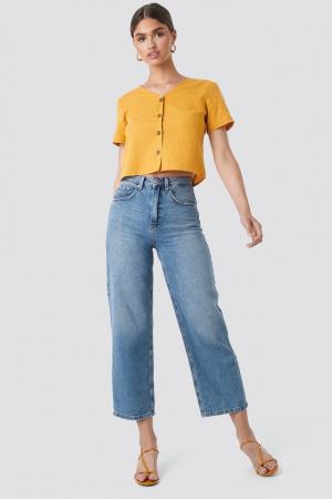 Top din in Linen Look Buttoned [2]