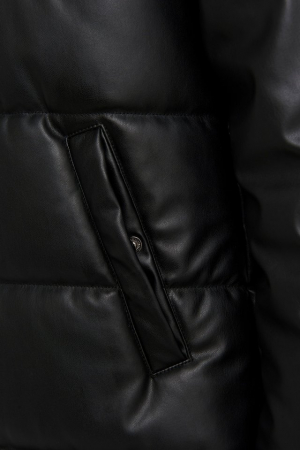 Jacheta Long PU Padded Jacket [3]