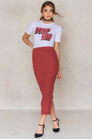 Fusta Long Rib Knitted Slit Back Skirt0