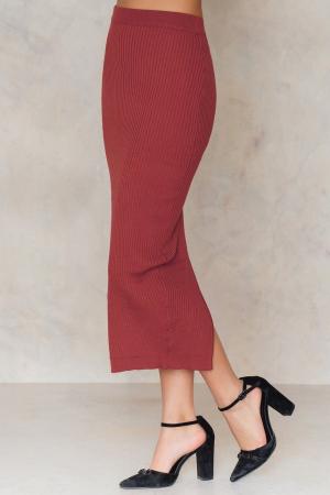 Fusta Long Rib Knitted Slit Back Skirt1