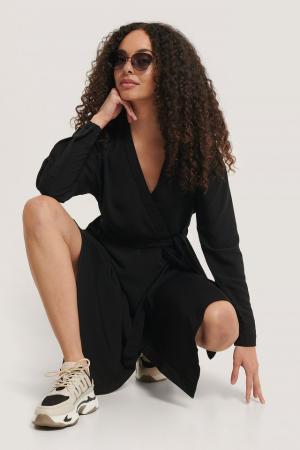 Rochie Midi Overlap Tied Waist0