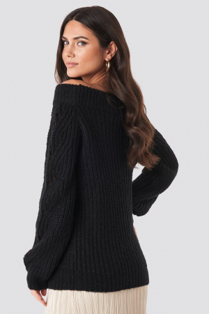 Pulover Off Shoulder Pointelle Knitted Sweater1