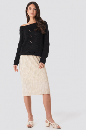 Pulover Off Shoulder Pointelle Knitted Sweater2