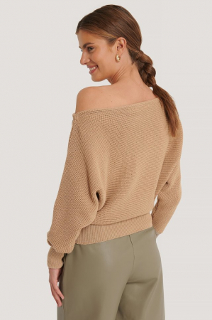 Pulover Off Shoulder Knitted Sweater [1]
