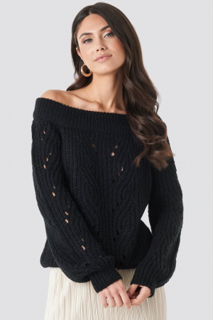 Pulover Off Shoulder Pointelle Knitted Sweater0