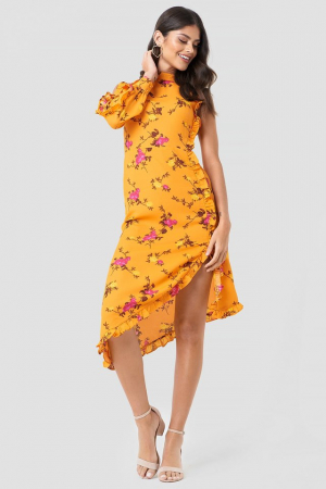Rochie One Sleeve High Neck Frill0