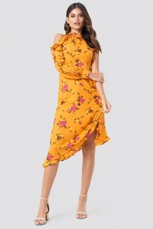 Rochie One Sleeve High Neck Frill2