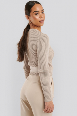 Pulover Overlap Ribbed Knitted1