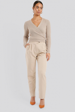 Pulover Overlap Ribbed Knitted0