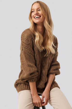 Pulover Wool Blend V-Neck Heavy Knitted Cable [0]