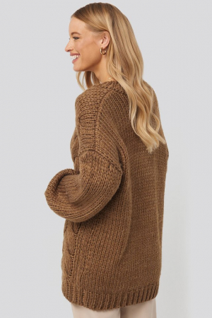 Pulover Wool Blend V-Neck Heavy Knitted Cable [1]