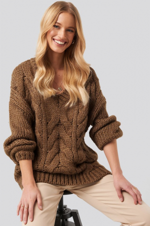 Pulover Wool Blend V-Neck Heavy Knitted Cable [2]