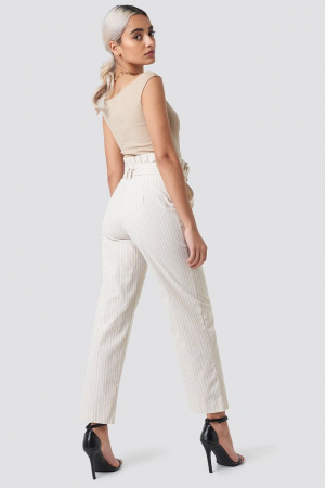 Pantaloni Paper Waist Striped [3]
