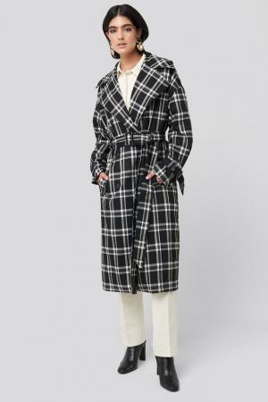 Palton Plaid Oversized Belted Coat [0]