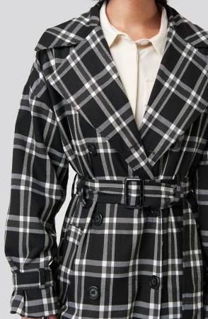 Palton Plaid Oversized Belted Coat [4]