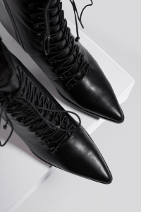 Botine Pointy Lace Up Booties [4]