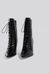 Botine Pointy Lace Up Booties [2]