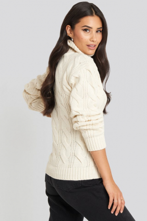 Pulover Polo Neck Cable Knitted1
