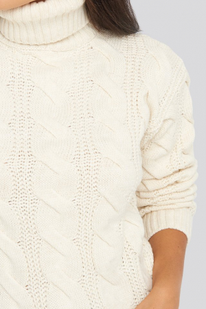 Pulover Polo Neck Cable Knitted2