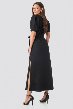 Rochie Puff Sleeve Belted Max1
