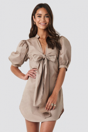 Rochie Puff Sleeve Tied Front Short0