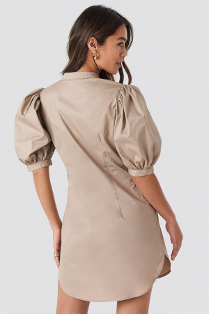 Rochie Puff Sleeve Tied Front Short1