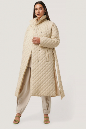 Overisized Quilted Long Jacket NA-KD Trend, Beige [1]