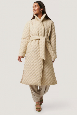 Overisized Quilted Long Jacket NA-KD Trend, Beige [3]