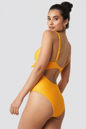 Costum De Baie Ribbed Cut Out Knot3