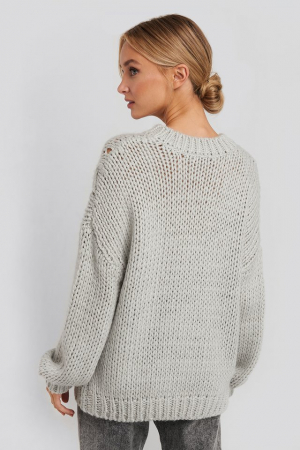 Pulover Wool Blend Round Neck Heavy Knitted Cable2